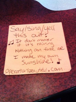 "Lyrics featured in this photo are from ""I Make My Own Sunshine,"" by Alyssa Bonagura"